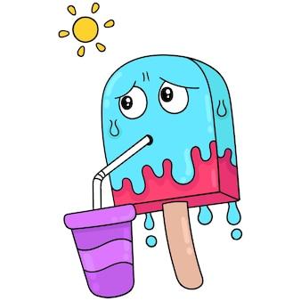 Lody topią się w letnim słońcu, ilustracja wektorowa sztuki. doodle ikona obrazu kawaii.