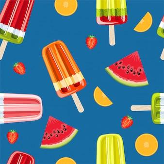 Lody, wzór lodu owocowego. kolorowy lato wzór z tropikalnymi owocami i lodami. papier do pakowania, tkaniny, tapety, projekt tła.