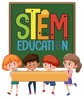 Łodyga logo edukacji z dziećmi trzymającymi linijkę na białym tle