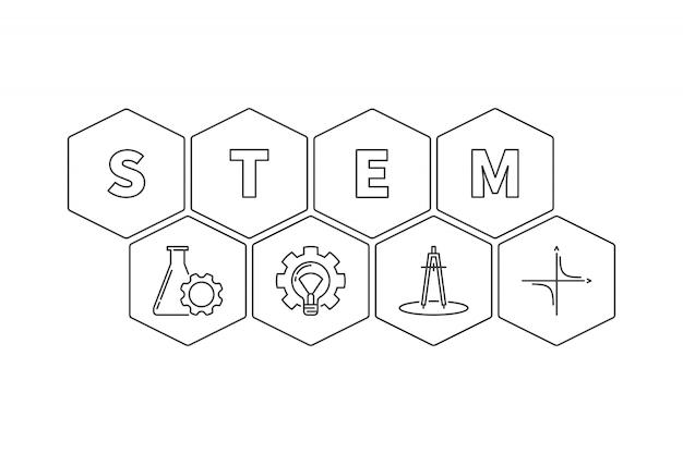 Łodyga słowo z ikona konturu heksagonalną ilustracją