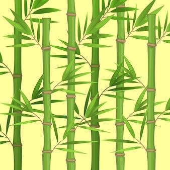 Łodygi bambusa z płaskim motywem zielonych liści w realistycznym stylu na białych, tropikalnych roślinach. łodygi bambusowego gaju