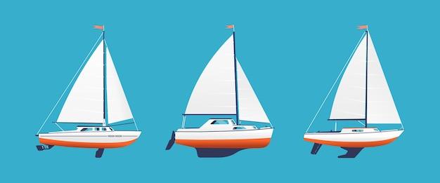 Łódź, ilustracja, odizolowany, morski, żagiel, żaglówka, statek, sylwetka, transport, transport, wektor, biały, jacht