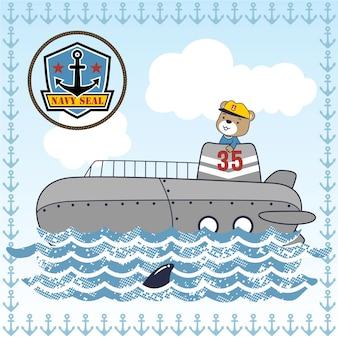 Łódź podwodna z uroczym sternikiem