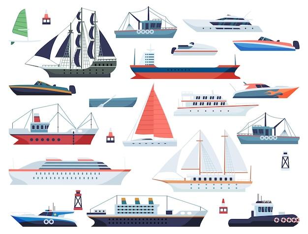Łódź rybacka i duży statek do podróży oceanicznych na białym tle