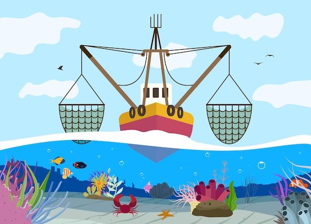 Łódź rybacka na morzu płaska ilustracja