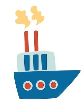 Łódź rysunkowa transport morski łódź rybacka mały statek w uroczym płaskim stylu zabawka dla dzieci