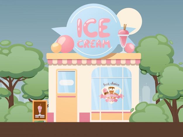 Lodziarnia. mała przytulna gelateria, lokalny sklep biznesowy. mleczarnia w letnim parku, na zewnątrz kawiarni deserowej. witamy w klasycznych żelateriach, lodach