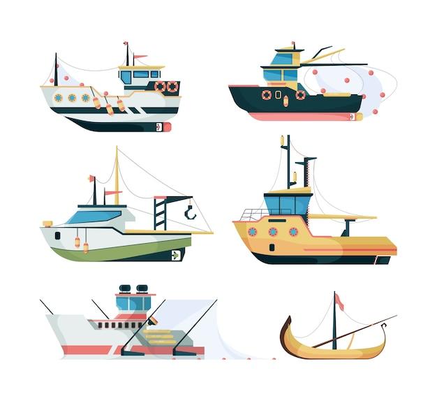 Łodzie rybackie. morski transport żeglarski do łowienia dużych i małych statków wektor płaski. ilustracja transport morski, morskie łowienie ryb