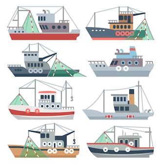 Łodzie rybackie na oceanie. rybak handlowych statki na białym tle zestaw