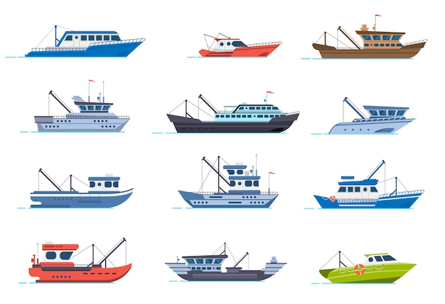 Łodzie rybackie. rybackie statki handlowe, łódź morska rybaka do wody oceanicznej, zestaw ilustracji łodzi przemysłu morskiego. rybołówstwo morskie, przemysł okrętowy, łódź rybna