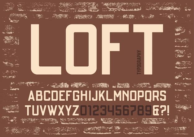 Loft skondensowany bez kroju pisma szeryfowego. wektor alfabet, lett