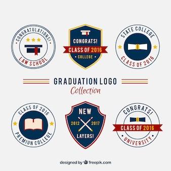 Loga college ustawione w stylu vintage