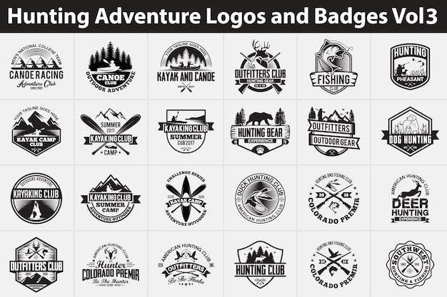 Loga i odznaki myśliwskiej przygody