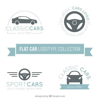 Loga kolekcji samochodów w płaskiej konstrukcji