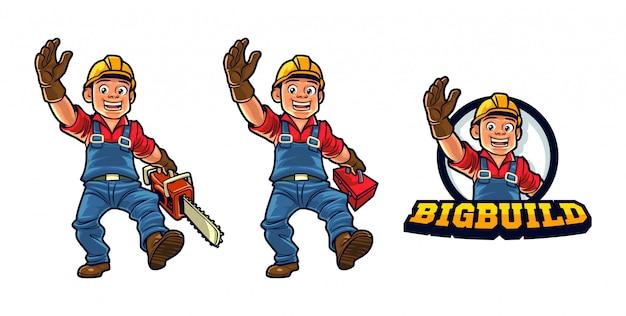 Logger i budowniczy kreskówka maskotka logo