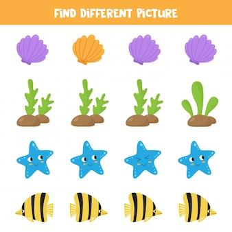 Logiczna gra dla dzieci. znajdź inny obraz w każdym rzędzie. zwierzęta morskie.
