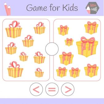 Logiczna gra edukacyjna dla dzieci w wieku przedszkolnym. większy niż, mniejszy lub równy