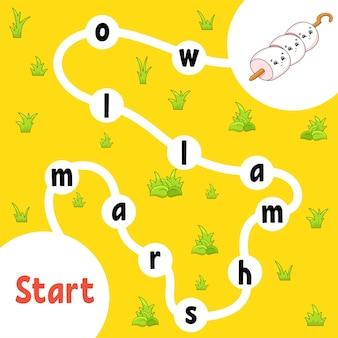 Logiczna gra logiczna. nauka słów dla dzieci. znajdź ukrytą nazwę. arkusz rozwijający edukację.