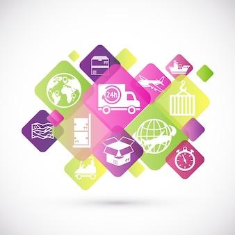 Logistic rhombus icons design zestaw ikon dostawy i usługi izolowane ilustracji wektorowych
