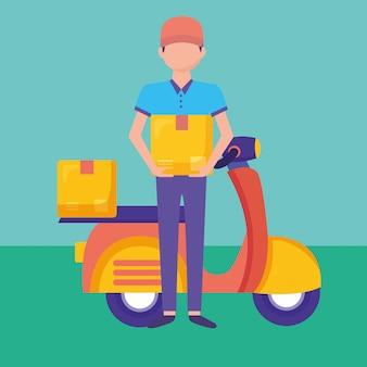 Logistyczna dostawa z kurierem i ilustracją motocyklową