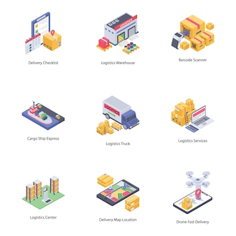 Logistyczne ikony dostawy