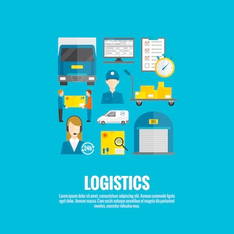 Logistyczne ikony płaskie