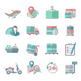 Logistyczne ikony ustawiają płaskie