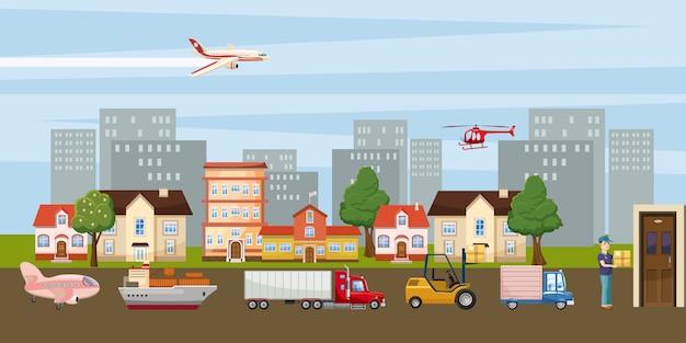 Logistyczne poziome tło miasta, stylu cartoon
