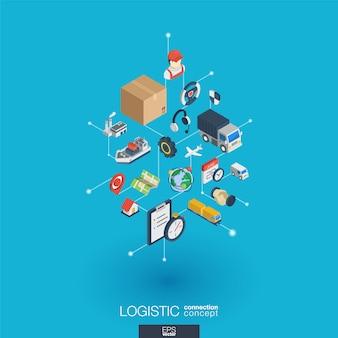 Logistyczne zintegrowane ikony sieci web. koncepcja interakcji izometrycznej sieci cyfrowej. połączony graficzny system kropkowo-liniowy. streszczenie tło dla wysyłki, dostawy i dystrybucji. infograf