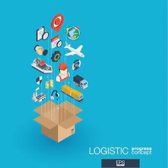 Logistyczne zintegrowane ikony sieci web. koncepcja postępu izometrycznego sieci cyfrowej. połączony system wzrostu linii graficznych. streszczenie tło dla wysyłki, dostawy i dystrybucji. infograf