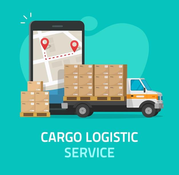 Logistycznie ładunek wysyła kuriera lub frachtowej doręczeniowej usługa transport przez telefonu komórkowego smartphone wektoru