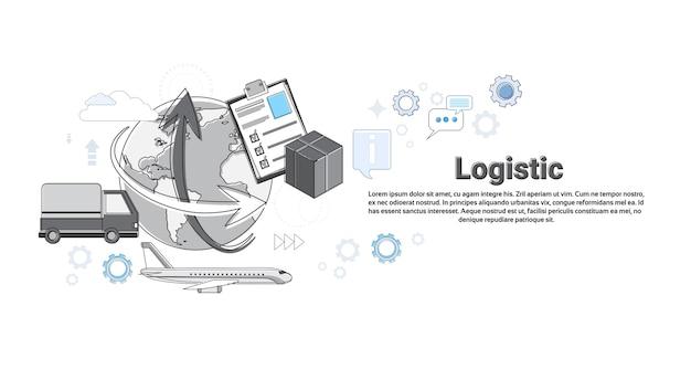 Logistycznie wysyłki doręczeniowej usługa sieci sztandaru cienka kreskowa wektorowa ilustracja