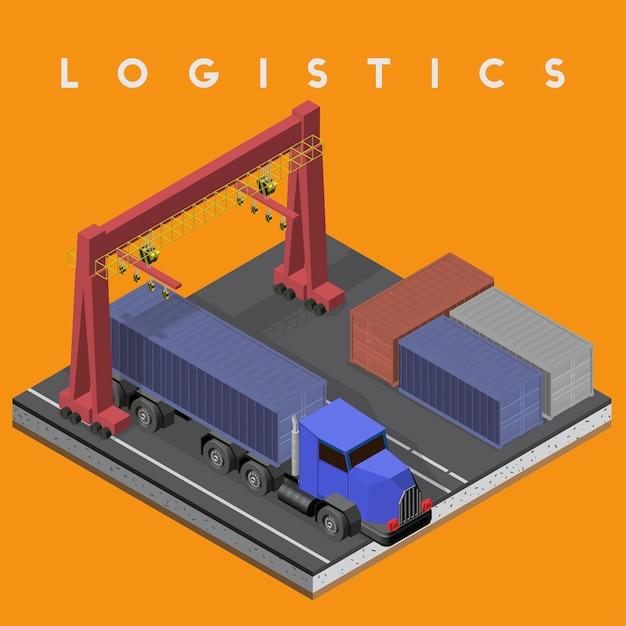 Logistyka biznesowa przemysłowa odosobniona ikona na tle