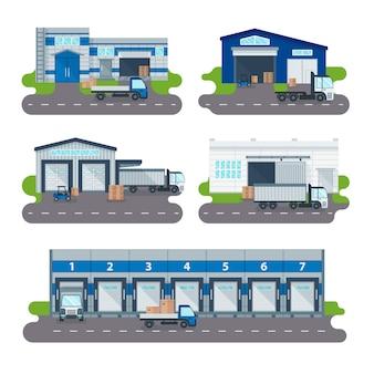Logistyka centrum dostaw hurtowni, załadunek ciężarówek, wózki widłowe pracowników wektorowych.