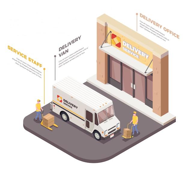 Logistyka dostaw skład izometryczny skład z wizerunkami pracowników dostawczy samochód dostawczy i infografiki podpisy tekstowe ilustracja