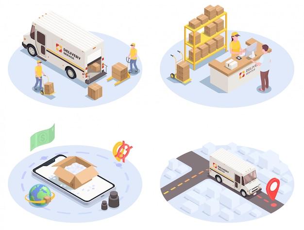 Logistyka dostawy przesyłka ustawia cztery izometrycznego wizerunku z kolorowymi ikona piktogramami ludzkimi charakterami i samochodami ilustracyjnymi
