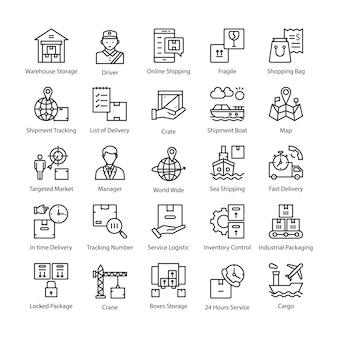 Logistyka dostawy wektor zestaw ikon