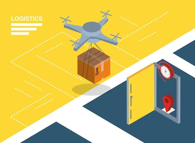 Logistyka i dostawa izometryczny dron z konstrukcją pudełka i drzwi, transportem, wysyłką i motywem usług