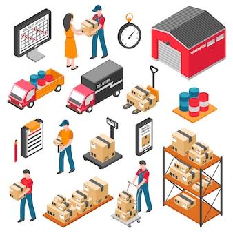 Logistyka i dostawy zestaw ikon izometryczny