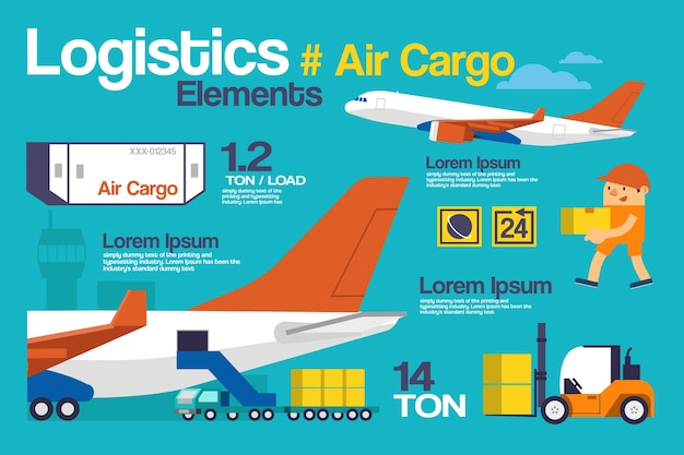 Logistyka, infografiki cargo i elementy.