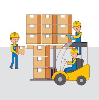 Logistyka magazyn ludzie wózek widłowy i kartony