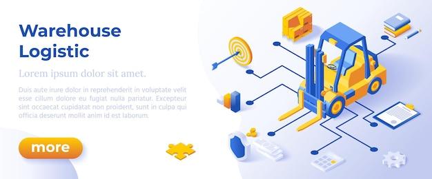 Logistyka magazynowa - izometryczny projekt w modnych kolorach izometrycznych ikon na niebieskim tle. szablon układu banera do tworzenia stron internetowych