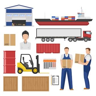 Logistyka płaskie elementy zestaw z towarami magazynowymi w różnych kontenerach pracowników transportu wózków widłowych na białym tle
