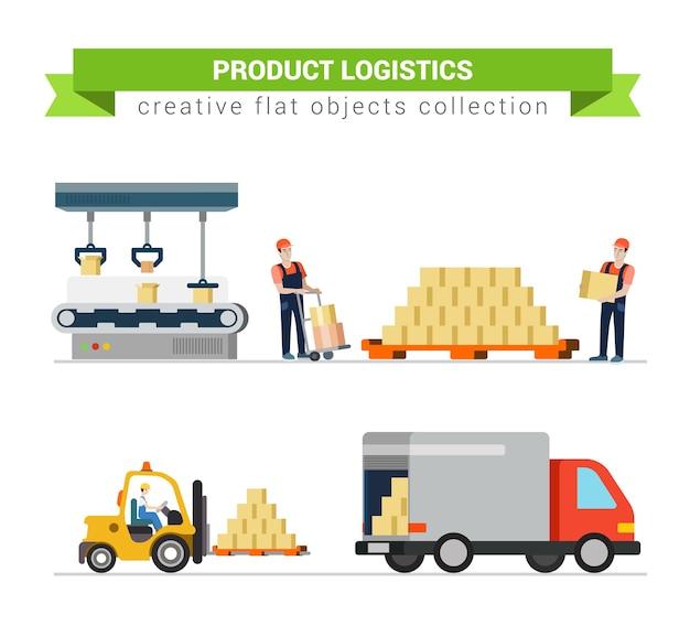 Logistyka skrzynia pakiet produktu usługa dostawy pracownik transport w procesie ustawia płaską nowoczesną koncepcję. proces załadunku wózka paletowego. kolekcja kreatywnych ludzi.