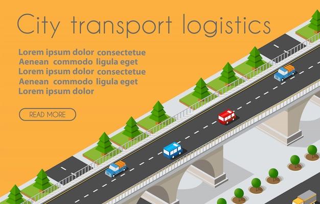 Logistyka transportu 3d izometryczne miasto na ilustracji