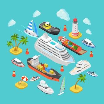 Logistyka Transportu Morskiego I Morskiego Płaskiego Oceanu Izometrycznego Premium Wektorów