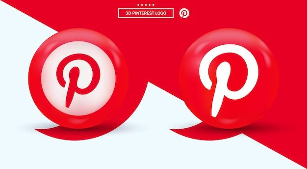 Logo 3d pinterest w nowoczesnym stylu