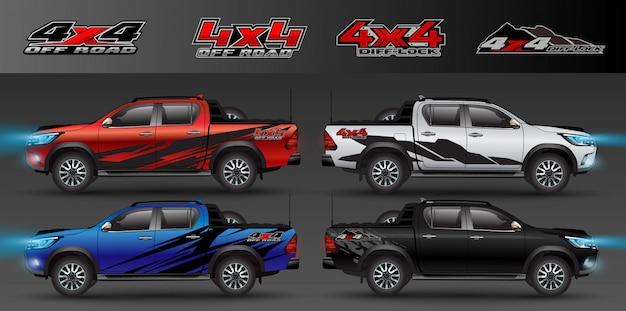 Logo 4x4 dla ciężarówki z napędem na 4 koła i grafiki samochodu. projekt owinięcia pojazdu winylem