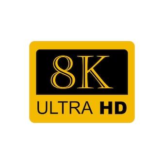 Logo 8k ultra hd, ilustracja wektorowa 8k high definition eps10
