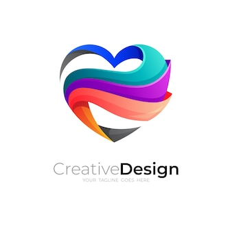 Logo abstrakcyjnej miłości ze społecznością projektową, kolorowe ikony 3d
